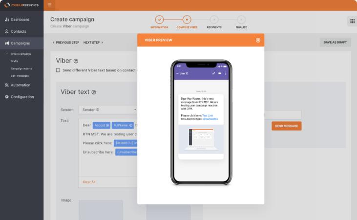 Kampagnen-Editor Test-Vorschau