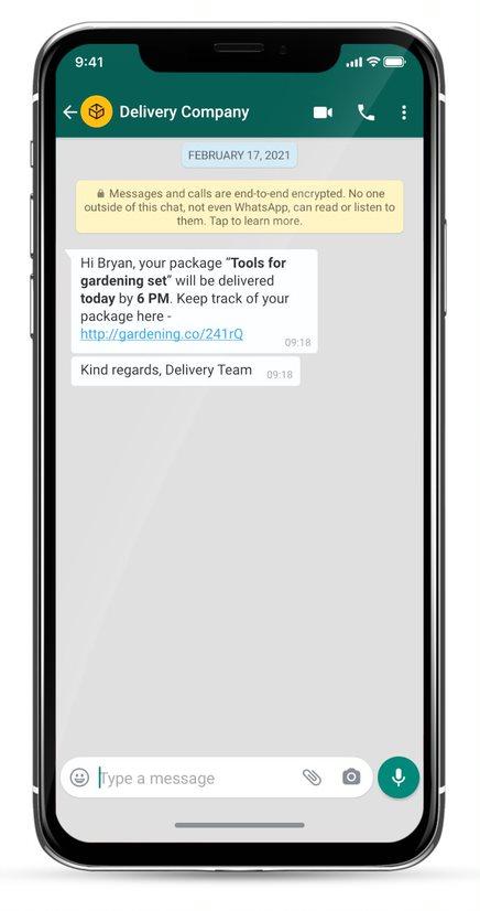whatsapp business message example - lieferaktualisierungen