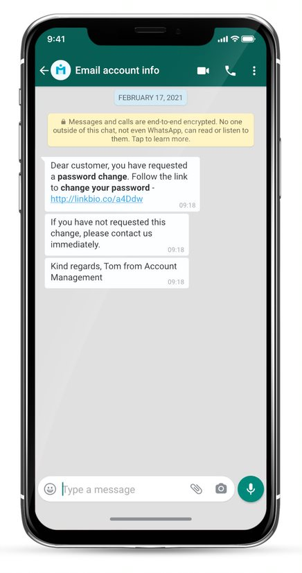 whatsapp business message example - kontoaktualisierungen