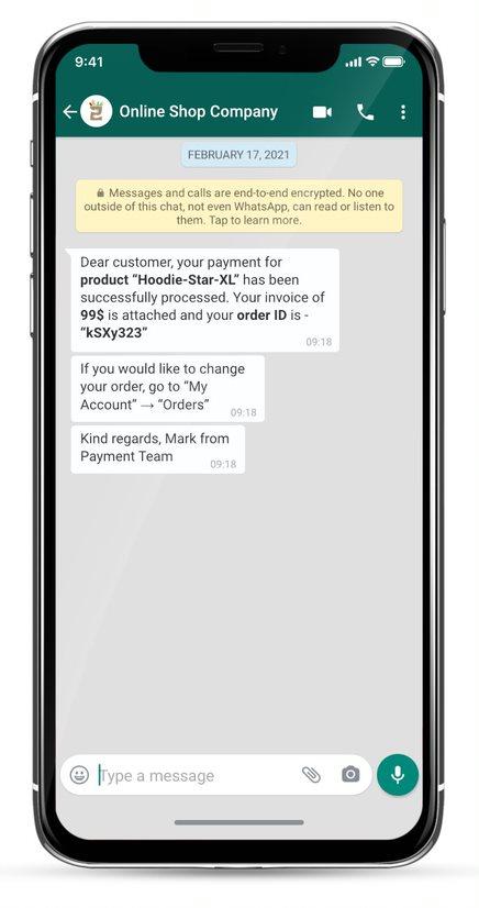 whatsapp business message example - online webshop