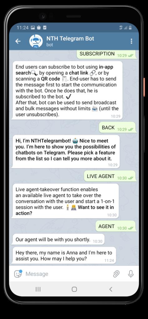 Beispiel eines Telegramm-Chatbots